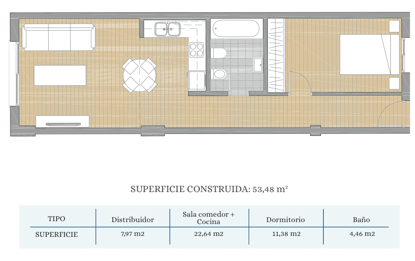 Plano Pisos 1 Dormitorio (B 13)