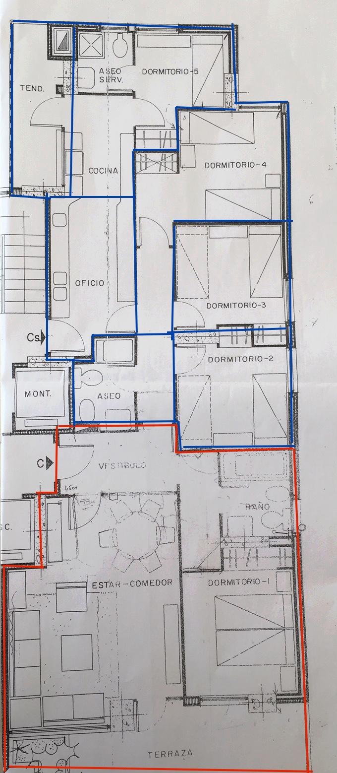 Plano donde se pueden ver las dos viviendas separadas por colores. Actualidad.